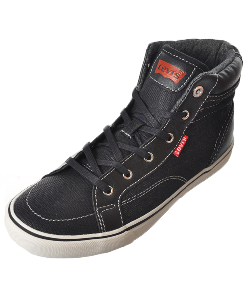 "Levi's Boys' ""Ashbury"" Hi-Top Sneakers (Youth Sizes 13 - 3) - black, 1 youth"