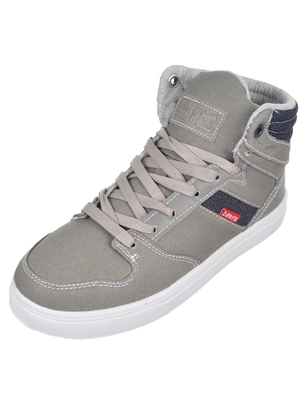"Levi's Boys' ""Brentwood"" Hi-Top Sneakers (Youth Sizes 13 - 3) - gray, 2.5 youth"