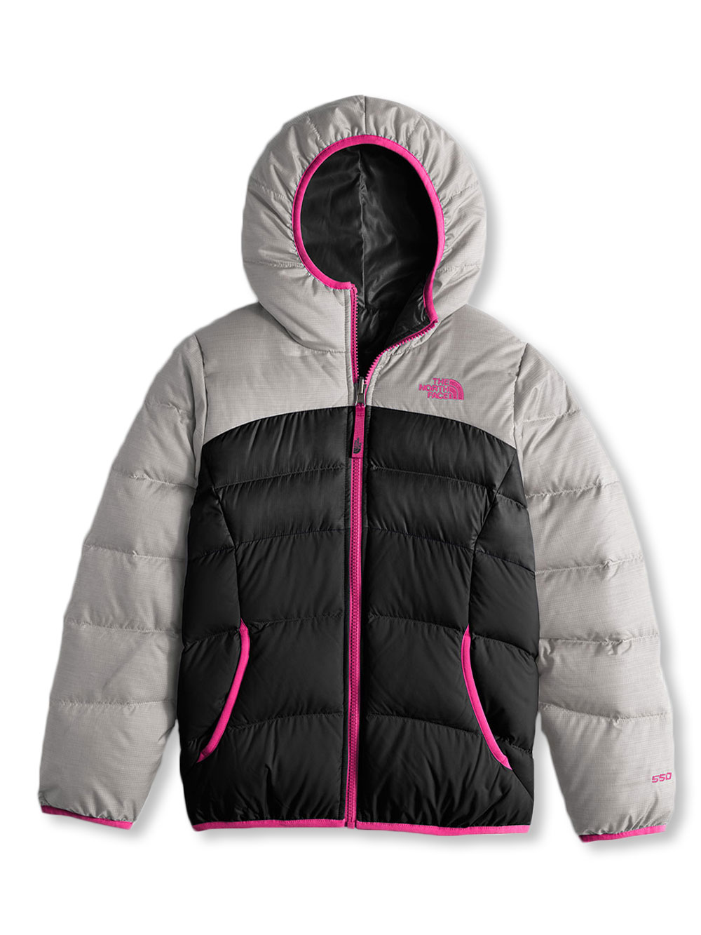 The North Face Big Girls' Reversible Moondoggy Jacket (Sizes 7 - 16) - metalic silver heather, l/14-16