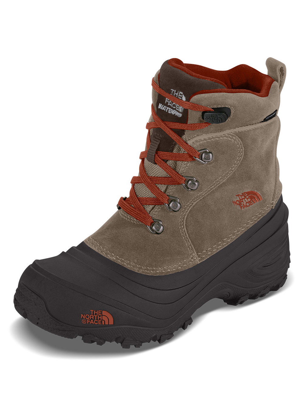 The North Face Boys' Chilkat Lace II Boots (Youth Sizes 13 - 7) - mudpack brown/sienna orange, 3 youth