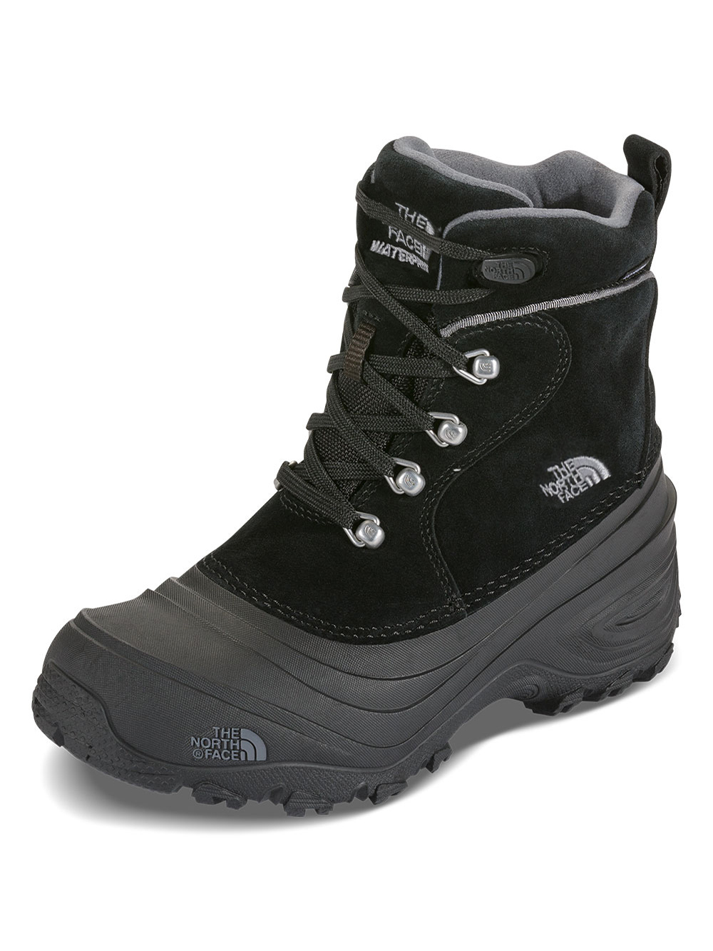The North Face Boys' Chilkat Lace II Boots (Youth Sizes 13 - 7) - black/zinc gray, 4 youth