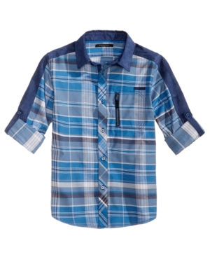 Sean John Plaid Woven Shirt, Big Boys (8-20)