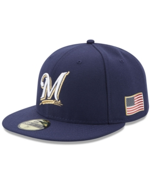 New Era Milwaukee Brewers Authentic Collection 9-11 Patch 59FIFTY Fitted Cap