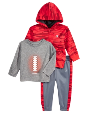 Champion 3-Pc. Hoodie, Football T-Shirt & Jogger Pants Set, Baby Boys (0-24 months)